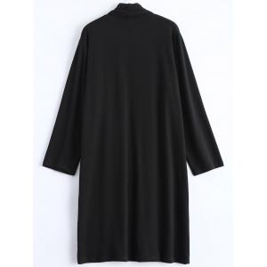 Plus Size Collarless Open Front Longline Coat -