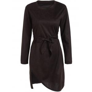 Suede Belted Asymmetrical Dress