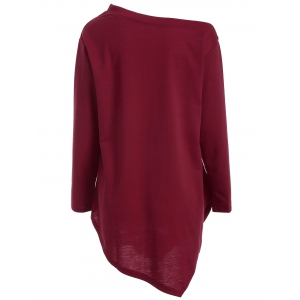 Wapiti Print Asymmetrical Christmas T-Shirt - DEEP RED XL