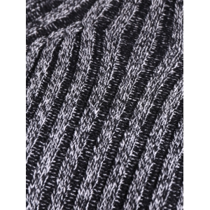 Heathered High Neck Ribbed Fitted Jumper Dress - BLACK GREY ONE SIZE
