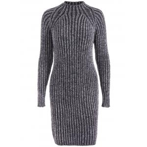 High Neck Long Sleeve Ribbed Fitted Jumper Dress - Black Grey - One Size