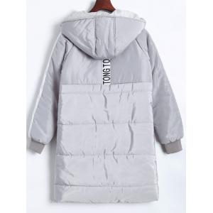 Plus Size Hooded Letter Graphic Puffer Coat -