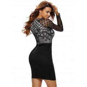 High Waist Bodycon Lace Sleeve Dress -