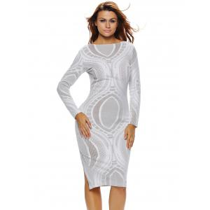 Long Sleeves Lace Insert Dress -