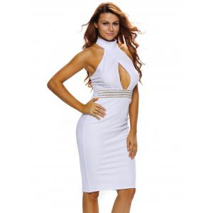Halter Keyhole Sheath Backless Tight Club Dress -