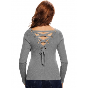 Back Lace Up Ribbed Knitted Sweater -