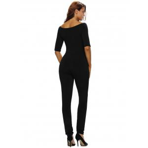 Off The Shoulder One-Piece Jumpsuit - BLACK L