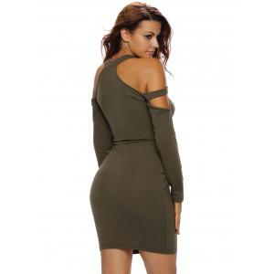 Long Sleeves Cold Shoulder Mini Club Dress - OLIVE GREEN L