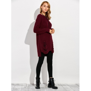Crew Neck High Low Ripped Sweater - WINE RED 2XL