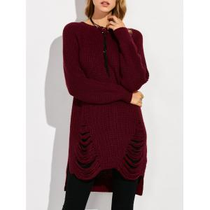 Crew Neck High Low Ripped Sweater - Wine Red - M