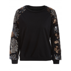 Crew Neck Sequined Sweatshirt - Black - S