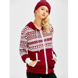 Sweat-shirt à capuche zippé imprimé flocon de neige de Noël - Clairet XL