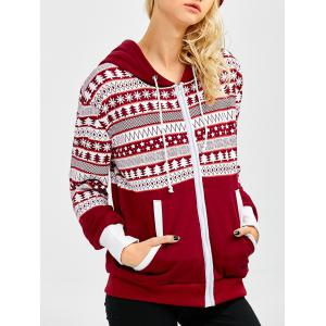 Drawstring Snowflake Print Christmas Zip Up Hoodie