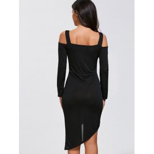 Cold Shoulder Sheath Asymmetric Hem Dress -