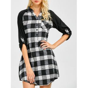 Lace Inset Checked Mini Shift Shirt Dress