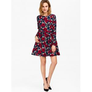 Floral Print Long Sleeve Mini Dress -