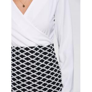 Long Sleeve Argyle Faux Wrap Fitted Dress - WHITE 3XL