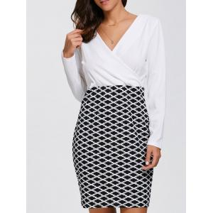 Long Sleeve Argyle Faux Wrap Fitted Dress - White - S