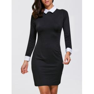 Sheath Mini Long Sleeve Collared Dress