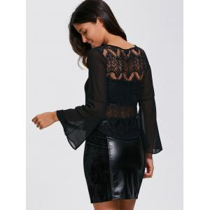 See-Through Lace Inset Chiffon Blouse -