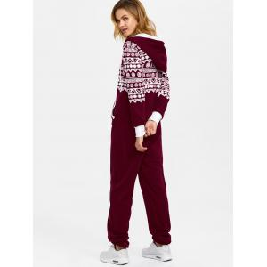 Hooded Geometry Print Christmas Jumpsuit - WINE RED XL