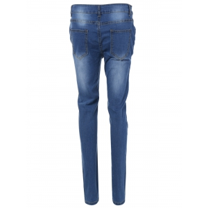 Patch Design Skinny Ripped Jeans With Pockets -