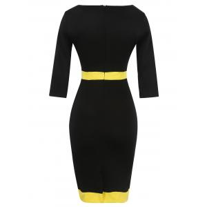 Bandage Bodycon Midi Dress with Sleeves - YELLOW 3XL