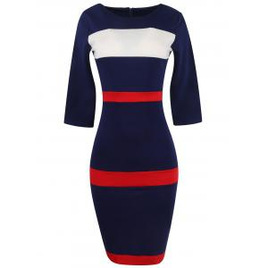 Bandage Bodycon Midi Dress with Sleeves