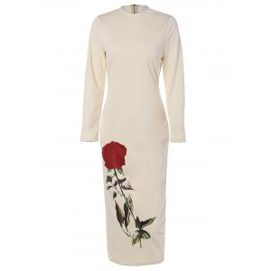 Floral Long Sleeve Crew Neck Midi Fitted Dress - Beige - 3xl