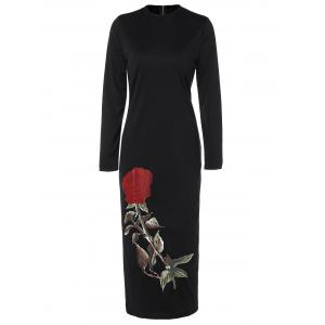 Floral Long Sleeve Crew Neck Midi Fitted Dress - Black - S