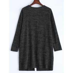 Open Front Knit Duster Cardigan - DEEP GRAY ONE SIZE