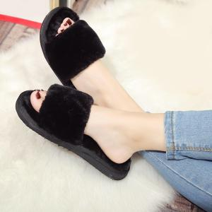 Faux Fur Slippers - Noir 39