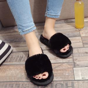 Faux Fur Slippers - Black - 37