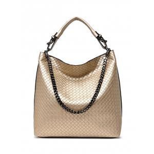 Chain Argyle Double Buckle Tote Bag