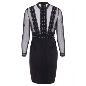 See Through Rivet Long Sleeve Dress - BLACK XL