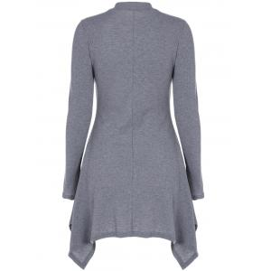 Asymmetrical High Neck Long Sleeve Dress - GRAY XL