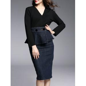 Knee Length Work Pencil Long Sleeve Peplum Dress