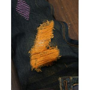 Plus Size Straight Leg Colorful Patch and Holes Design Jeans -