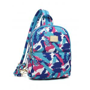 Nylon Printed Zippers Backpack -