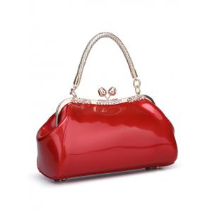 Vintage Kiss Lock Patent Leather Handbag - RED