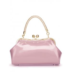 Vintage Kiss Lock Patent Leather Handbag - Pink