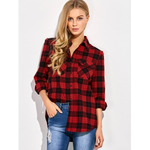 Casual Tartan Check Oversized Shirt - RED/BLACK 2XL