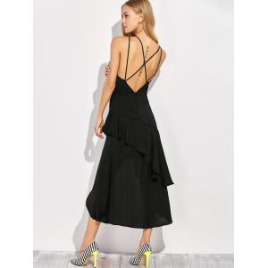 Open Back Ruffled Dress - BLACK 2XL