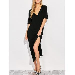 V Neck Side Slit Maxi T-shirt Dress - Black - S