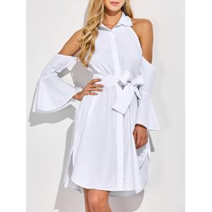Cold Shoulder Flare Long Sleeve Button Up Shirt Dress