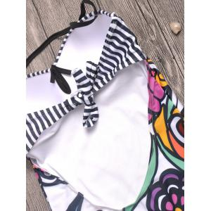 Striped Printed Backless Swimwear - WHITE L