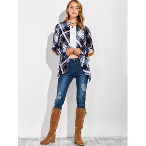 Plaid Open Front Elbow Patch Coat - CHECKED XL