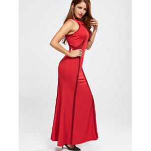 High Neck Floor Length Maxi Prom Evening Dress - RED XL