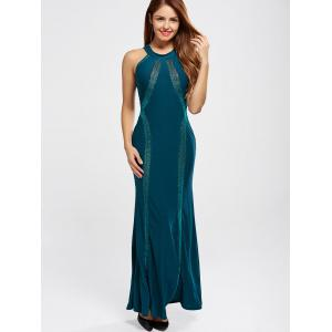 Racerback Evening Formal High Neck Maxi Prom Dress - PEACOCK BLUE S