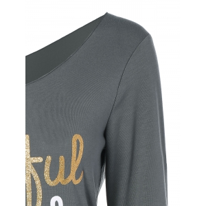 Thanksgiving Skew Collar Letter Graphic Tee - GRAY XL
